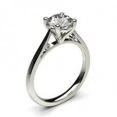 Bague de fiançailles fine solitaire diamant serti 4 griffes rondes
