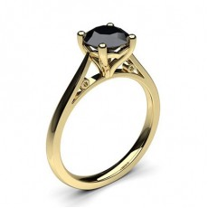 Yellow Gold Black Diamond Engagement Rings