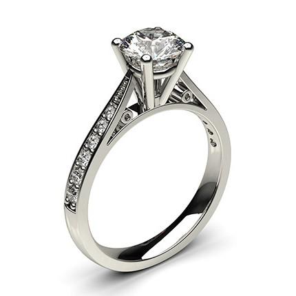 bague de fian ailles standard solitaire paul diamant serti 4 griffes rondes et pav diamonds. Black Bedroom Furniture Sets. Home Design Ideas