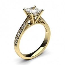 Princess Yellow Gold  Side Stone Engagement Rings