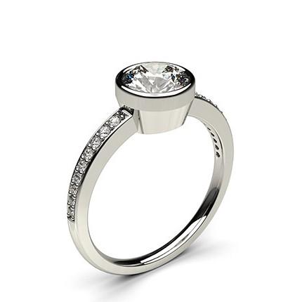 bf8ed09a277f1 Bague de fiançailles fine solitaire épaulé diamant rond serti clos et pavé  - Diamonds Factory