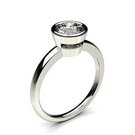 Full Bezel Setting Thin Engagement Ring