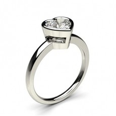 Heart White Gold Solitaire Engagement Rings