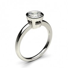 Cushion White Gold  Solitaire Diamond Engagement Rings