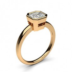 Asscher Rose Gold  Solitaire Engagement Rings