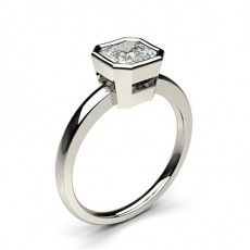 Asscher White Gold Solitaire Diamond Rings