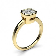 Asscher Yellow Gold Solitaire Engagement Rings