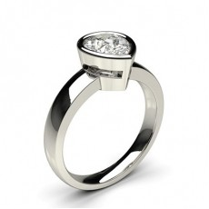 Pear White Gold Solitaire Diamond Rings