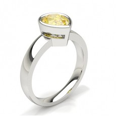 Bezel  Yellow Diamond Solitaire Engagement Ring