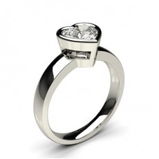 Heart Platinum Classic Solitaire Engagement Rings