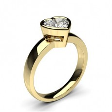 Heart Yellow Gold  Classic Solitaire Engagement Rings