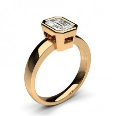 Emerald Rose Gold Solitaire Diamond Rings