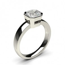 Asscher White Gold Classic Solitaire Diamond Engagement Rings