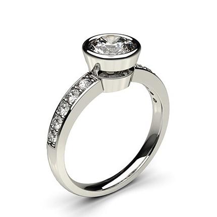 Full Bezel Setting Medium Side Stone Engagement Ring
