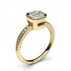 Asscher Yellow Gold Side Stone Diamond Rings