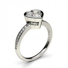 Heart White Gold  Side Stone Diamond Engagement Rings