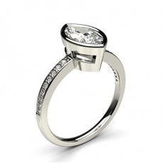 Full Bezel Setting Thin Side Stone Engagement Ring