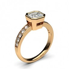 Full Bezel Setting Medium Side Stone Engagement Ring
