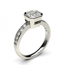 Asscher Platinum  Side Stone Engagement Rings