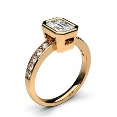 Emerald Rose Gold Side Stone Engagement Rings