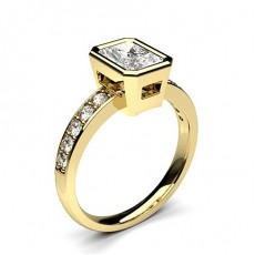 Radiant Yellow Gold Side Stone Engagement Rings
