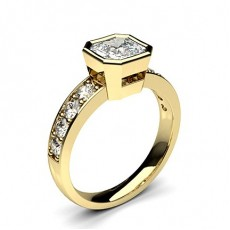 Asscher Yellow Gold Engagement Rings