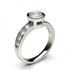 Full Bezel Setting Large Side Stone Engagement Ring