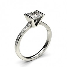 Princess White Gold  Side Stone Diamond Engagement Rings