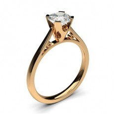 Cushion Rose Gold  Solitaire Diamond Rings