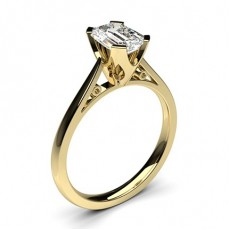 Emerald Yellow Gold Classic Solitaire Engagement Rings