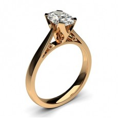 Oval Rose Gold Solitaire Diamond Rings