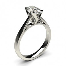 Oval White Gold Solitaire Diamond Rings