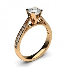 Cushion Rose Gold Side Stone Diamond Engagement Rings