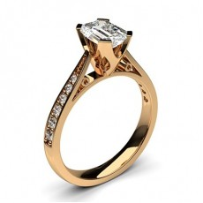 Emerald Rose Gold  Side Stone Diamond Engagement Rings