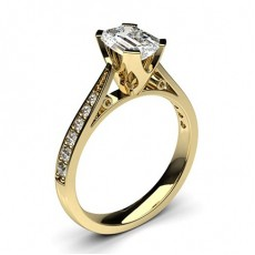 Emerald Yellow Gold Side Stone Diamond Engagement Rings