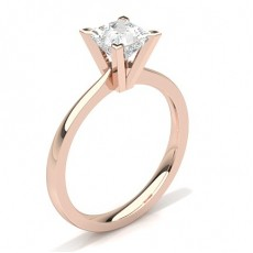 Princess Rose Gold Classic Solitaire Engagement Rings