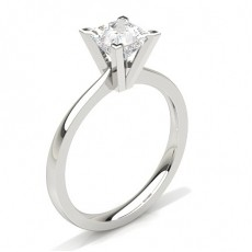 Princess White Gold Solitaire Engagement Rings
