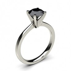 4 Prong Setting Thin Engagement Black Diamond Ring