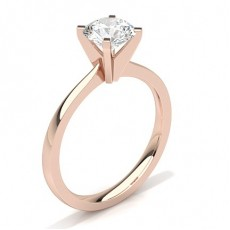 Round Rose Gold Classic Solitaire Diamond Engagement Rings