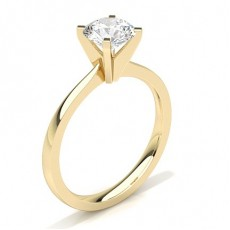 Round Yellow Gold Classic Solitaire Engagement Rings