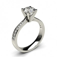 White Gold Round Side Stone Diamond Ring