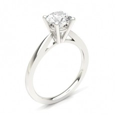 Round Platinum  Classic Solitaire Diamond Engagement Rings