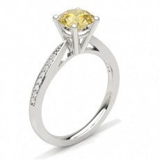 Round Platinum Yellow Diamond Engagement Engagement Rings