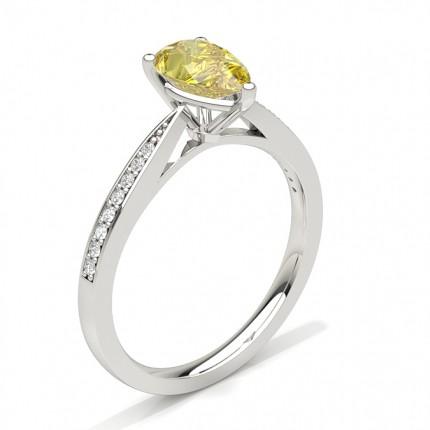 Prong Set Yellow Diamond Side Stone Engagement Ring