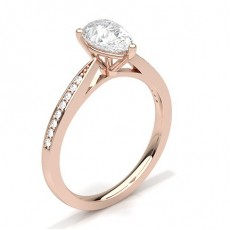 Pear Rose Gold Side Stone Engagement Rings