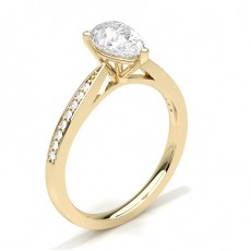 Pear Yellow Gold Side Stone Diamond Rings