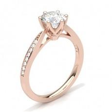 Rose Gold  Side Stone Diamond Engagement Rings