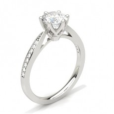 Round  Side Stone Engagement Rings