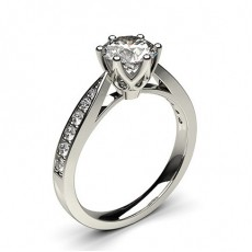6 Prong Setting Medium Side Stone Engagement Ring