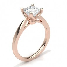 Princess Rose Gold Classic Solitaire Diamond Engagement Rings